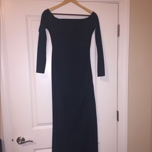 Forest Green Boatneck Dress with a split